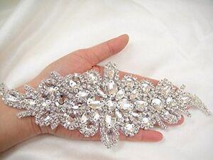 Handmade Bridal Diamante Rhinestone Applique Crystal Bridal Sash Applique DIY