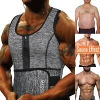 Men's Sauna Suit Sweat Vest Waist Trainer Body Shaper Tank Top Compression Shirt