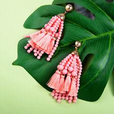 orecchini A perno Dorato Grandi Candeliere Perla Pompon Rosa Artigianale XX24