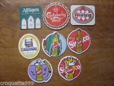 Lot de 8 SOUS BOCK BIERE Carlsberg Mutzig Afflingen Cardinal Sinalco