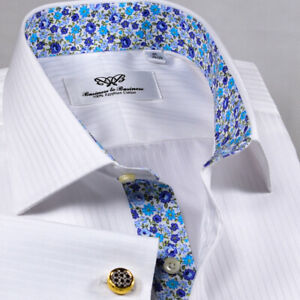 White Luxury Herringbone Formal Business With Romantic Floral Inner Lining