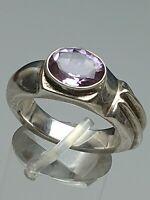 Massiver 925 Silber Ring ausgefallenes Design 80th - mit Amethyst RG 54/17,2 mm