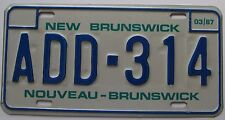 New Brunswick 1987 GOOD NUMBER License Plate SUPERB QUALITY # ADD 314