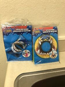 Shark Swim Arm Band Plus Splash Monster Ring Bundle SZ4+
