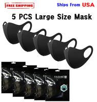 """5 PCS Large Size Reusable Washable Breathable Fashion Face Mask Unisex """"New"""""""