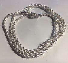 "SC 007 Silver 20"" twisted rope chain necklace 925 stamp Plum UK BOXED"