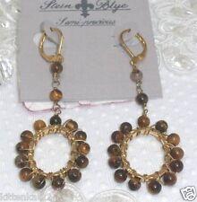 (Catherine) Stein Blye Semi Precious Tiger Eye Gold Plated Chandelier Earrings