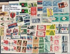 US Postage - 200 - 5 cent stamps in blocks, strips, & singles Below Face, Mint