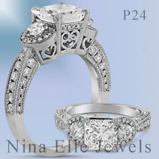 2ctw Princess Cut Antique Pave Diamond Engagement Ring Three Stone P24