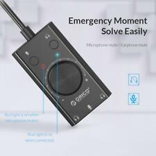 External USB Sound Card Volume 3-Port Mic Headphone Audio Card Adapter for PC