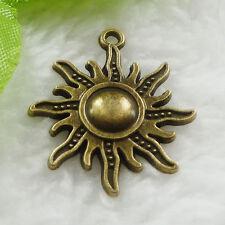 Free Ship 40 pcs bronze plated sun charms 28x25mm #639
