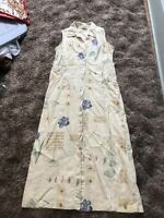 Sweet Jessie Petite Sleeveless Yellow Floral Button Up Dress Size S Small Linen