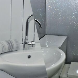 12 X White Gloss With Two Chrome Inlays/Grey Sparkle Cladding Bathroom Panels
