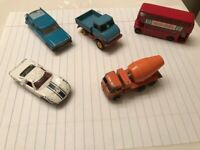 Lot Of 5 Vintage Matchbox Lesney Cars Truck Bus Cement Mixer Race Car