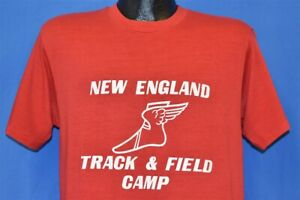 vtg 80s NEW ENGLAND TRACK FIELD CAMP WINGED FOOT LOGO HANES RED t-shirt MEDIUM M