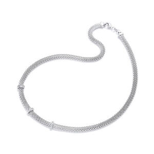 Sterling Silver Chain Mesh Necklace Three Bar Clear Cubic Zirconia Stones J JAZ