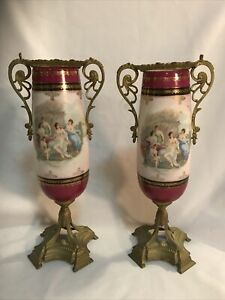 Antique German Porcelain Urns Vases Dore Bronze Mounts Classical Scene Pair 10""