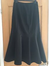 Black Satin Goth Fishtail Ballroom Full Length Skirt UK12 Debut Great Condition