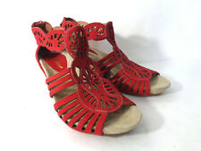 EARTHIES Sandals Caradonna US 5M Red Suede Leather Wedge Heel Back Zipper Shoes