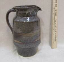 Pottery Pitcher Hand Crafted Ceramic Blue Brown Speckled Glaze Signed Handle 8.5