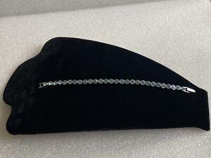 Genuine Swarovski Silver Tone Blue Crystal Tennis Bracelet