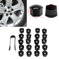 20pcs Car Wheel Nut / Bolt Head Cover Cap 17mm Hex Black Plastic + Black Clip