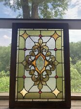 ANTIQUE VICTORIAN 1800'S STAINED & BEVELED GLASS WINDOW WITH JEWELS 34.75X24.25