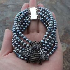 "PearlCzPave Bee Bracelet 6 Strands 8"" Black"