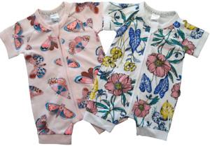 BONDS Baby Girls Zip Wondersuit Romper Bodysuit Zippy White Pink Size 000 00 0
