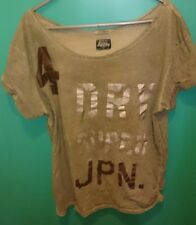 superdry japan m medium womens distressed green army silver bronze t shirt top