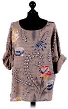 ITALIAN lagenlook BOHO summer FLORAL print SHORT cotton TOP mocha 12 14 16 18