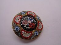 VINTAGE ITALIAN MICRO MOSAIC BROOCH V.VILLANI ITALY FLORAL DESIGN STAMPED ITALY