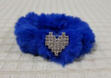FURRY PONYTAIL HOLDER ROYAL BLUE WITH HEART CHARM HAIR ACCESSORY