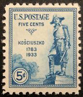 US Scott #734 1933 5¢ General Thadeusz Kosciusko Five-Cents Stamp MNH OG