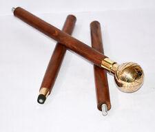 Antique walking nautical wooden stick globe brass handle vintage folding stick
