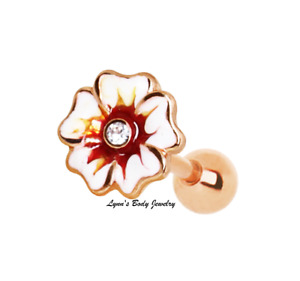 Rose Gold Plated Hawaiian Hibiscus Flower Clear CZ * Cartilage Tragus Earring