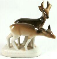 Porcelain Deers Vintage Figurine Fawn White Braun Made Hand Painted Deer Sculptu