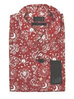 Pal Zileri Lab Slim Fit Red Paisley S/S Hawaiian Mens Cotton Shirt Large