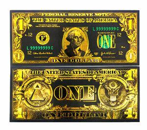 "★   USA : BILLET POLYMER NOIR COULEURS  "" OR "" DU 1 DOLLAR ★"