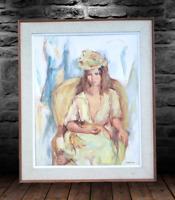 Vintage 1950's Original Oil Painting Woman Portrait Listed Artist Signed Framed