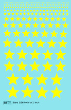 K4 All Scales Decals Five Point Stars 1/16 To 1 Inch Yellow