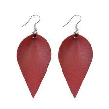 Leather Earrings Bohemian Leaf Drop Animal Print Black White Metalic Hot Dark Red - (silver)