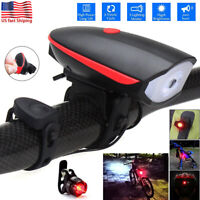USB Rechargeable LED Bicycle Headlight Bike Lights Front Rear Lamp Cycling USA