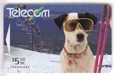 OCEANIE  TELECARTE / PHONECARD .. NOUVELLE ZELANDE 5$ GPT 161B CHIEN DOG SKI