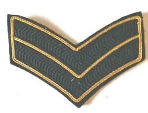 Corporal's Rank Stripes (Royal Green Jackets) Black/Gold On Green Bullion wire