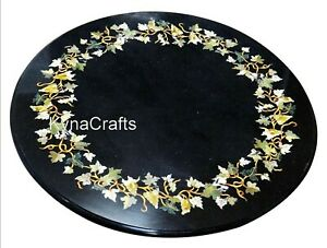 """Round Black Marble Coffee Table Top Beautiful Nature Design Sofa Side Table 24"""""""