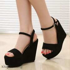 Womens Open Toe Platform High Wedge Heel Ankle Strap Suede Pumps Sandals Shoes #