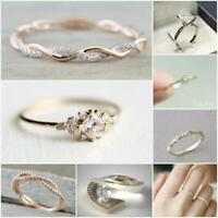 Dazzling Princess Cut White Sapphire 18K Rose Gold Ring Wedding Jewelry Sz 6-10