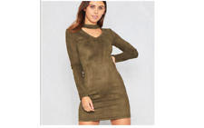 Missy Empire Amari Green Faux Suede Choker Dress Size UK 12 LF085 FF 13