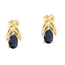 14k Yellow Gold 6x4mm Oval Emerald and Diamond Stud Earrings